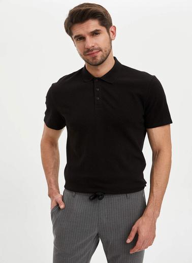 DeFacto Slim Fit Basic Polo T-Shirt Siyah